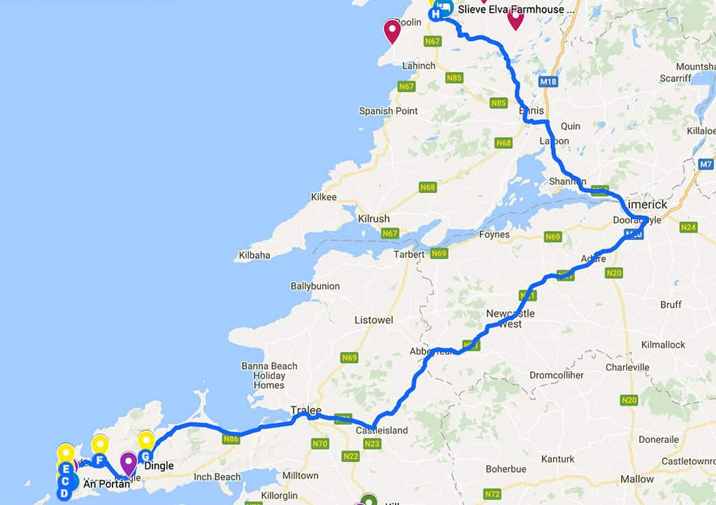 southern ireland itinerary road trip map day 5