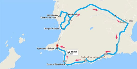Driving directions around Slea Head Drive in Dingle Ireland itinerary