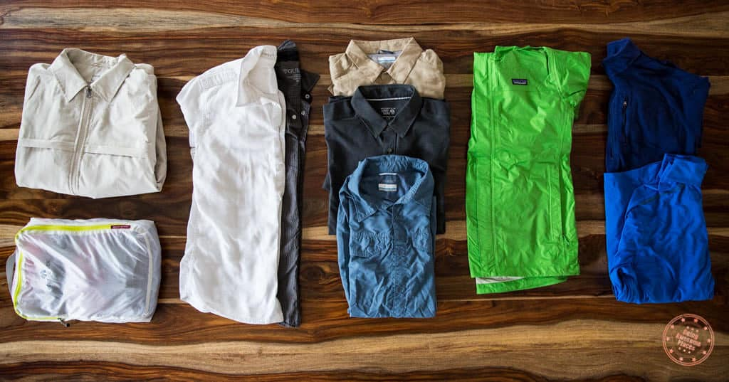 Packing list of shirts for trip to South Africa and Seychelles