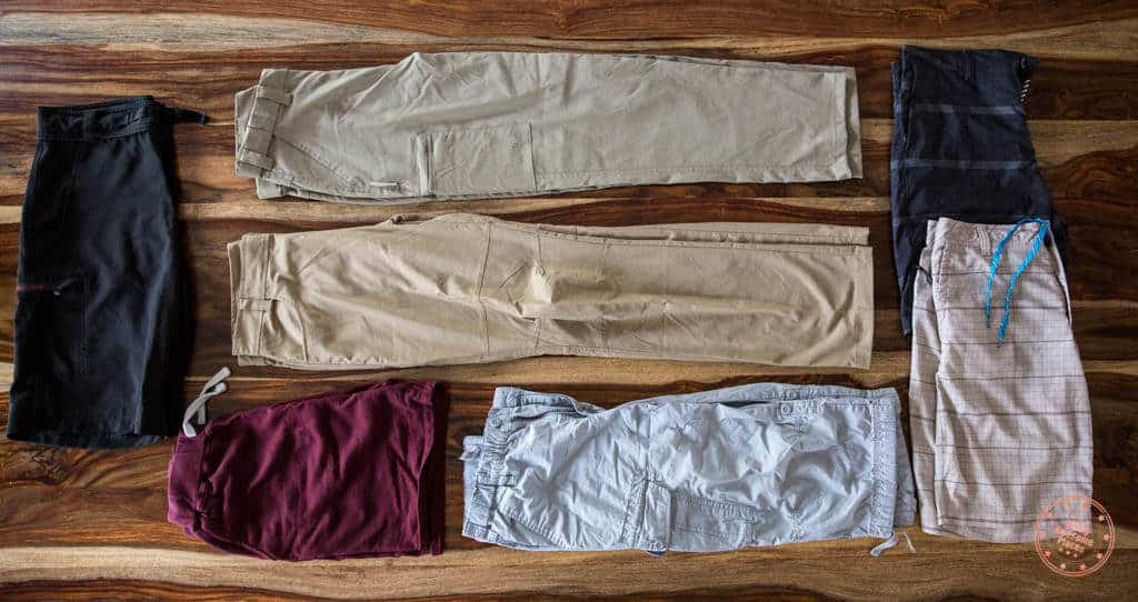 Packing list of pants for trip to South Africa and Seychelles
