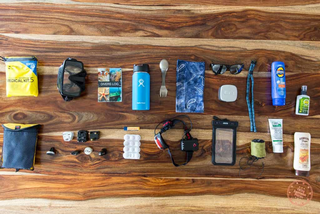 Packing list of miscellaneous travel gear for trip to South Africa and Seychelles