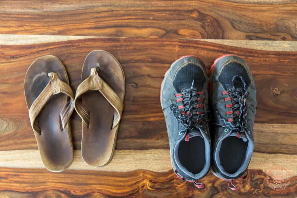 Packing list of shoes for trip to South Africa and Seychelles