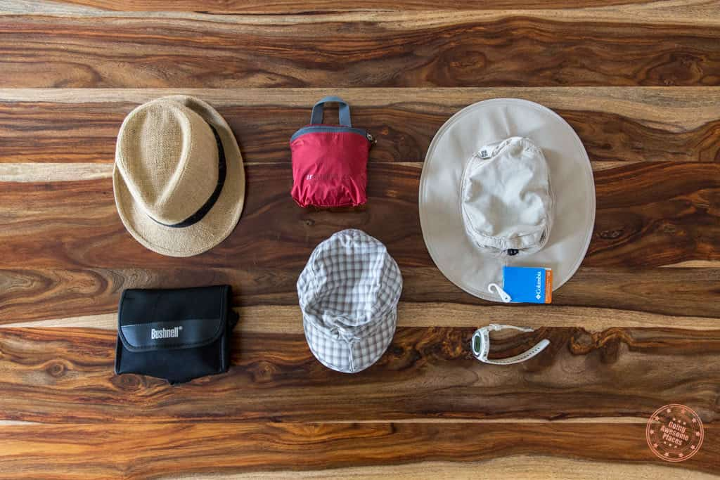 Packing list of hats and miscellaneous things for trip to South Africa and Seychelles