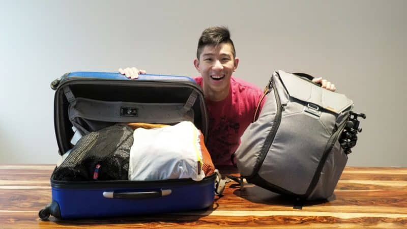 packing light with carry-on suitcase and backpack