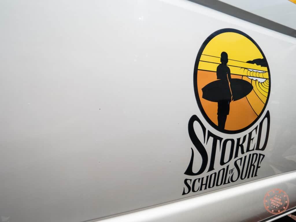 Stoked School of Surf Logo on Van