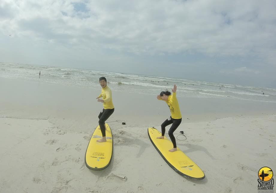 Surfing training on the Muizenberg beach