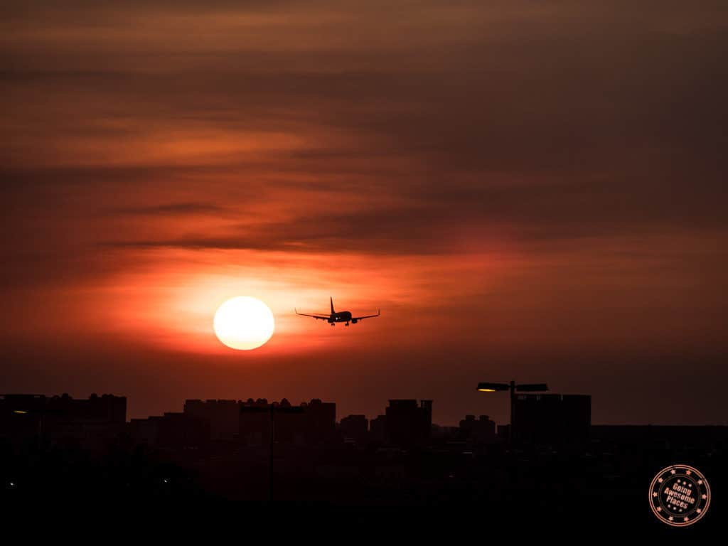Sunset At Taoyuan Airport With Plane
