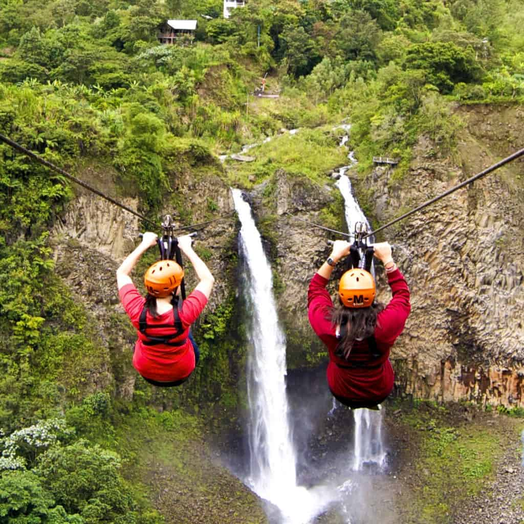 ziplining in Baños tourist attraction in ecuador