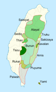 Map of indigenous tribes of Taiwan