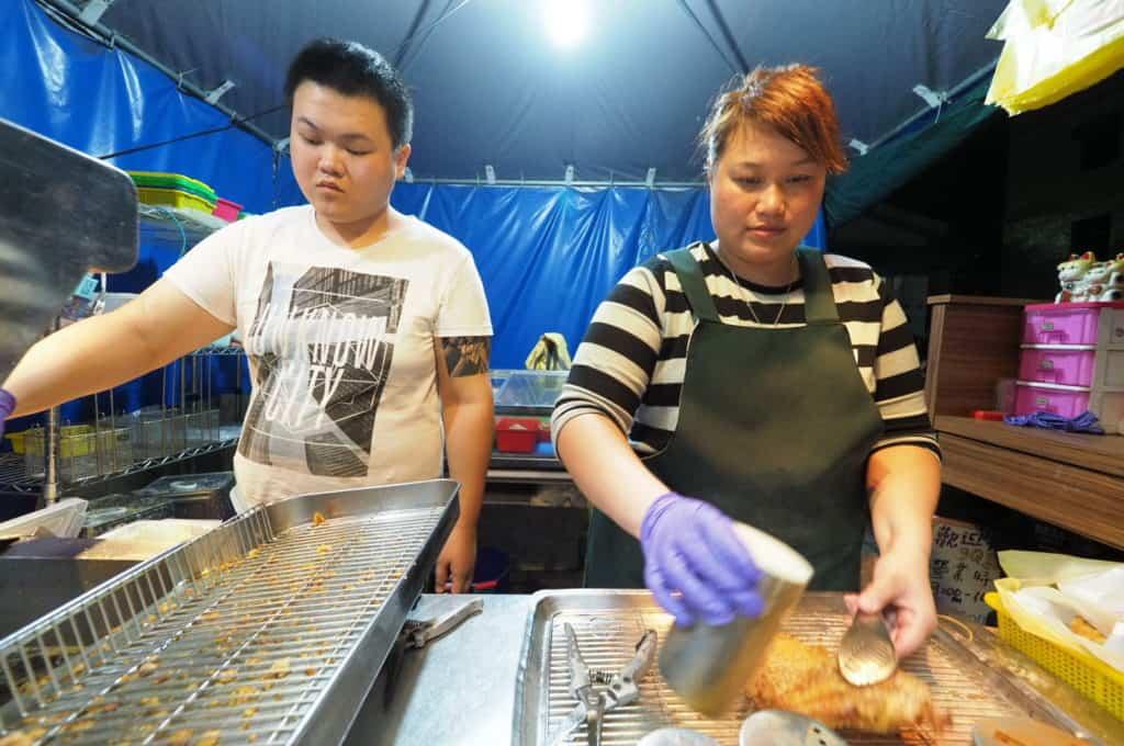 Taiwanese fried chicken and tofu street food