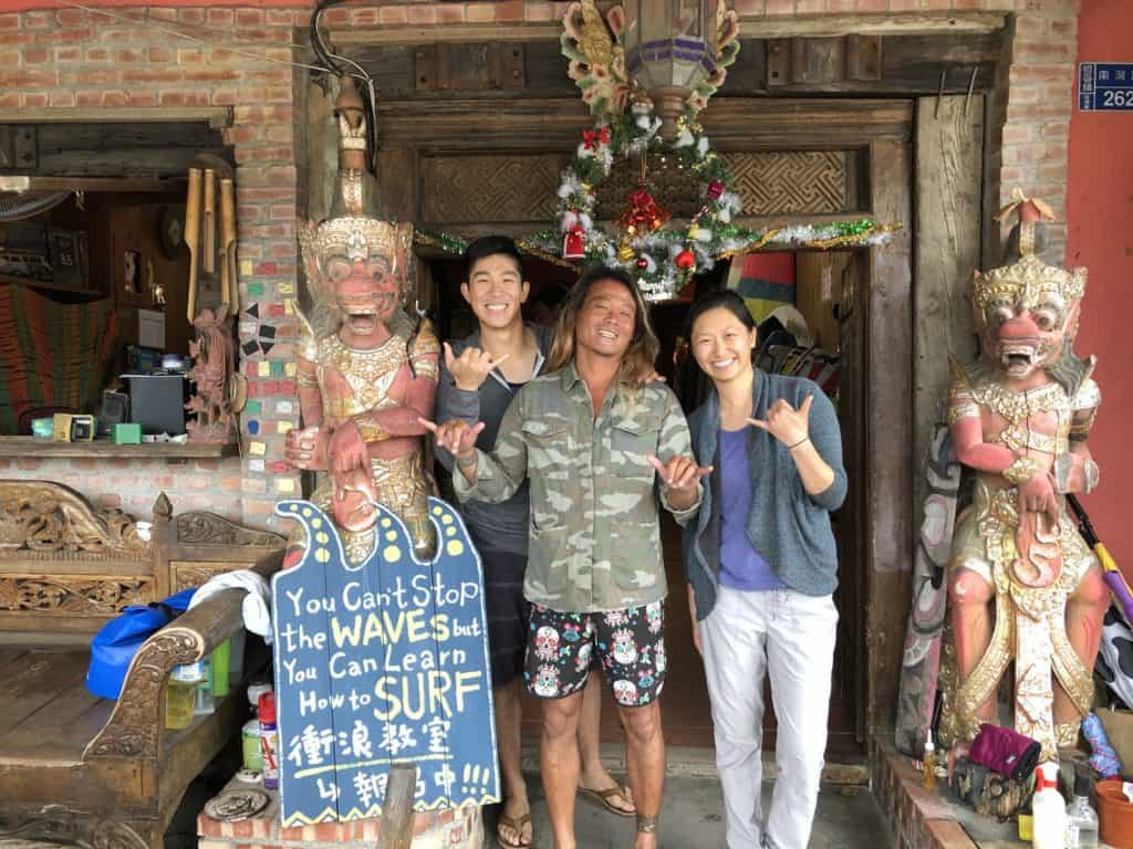 In Front of Afei Surfing shop in Kenting