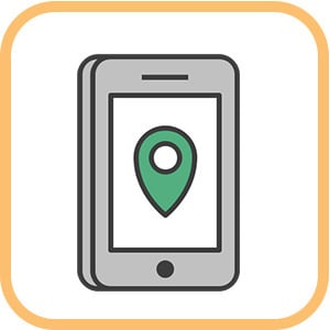 phone graphic with green location pin indicated downloadable material on going awesome places