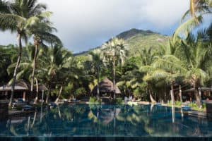 Hilton Seychelles Labriz Pool and Mountains Behind