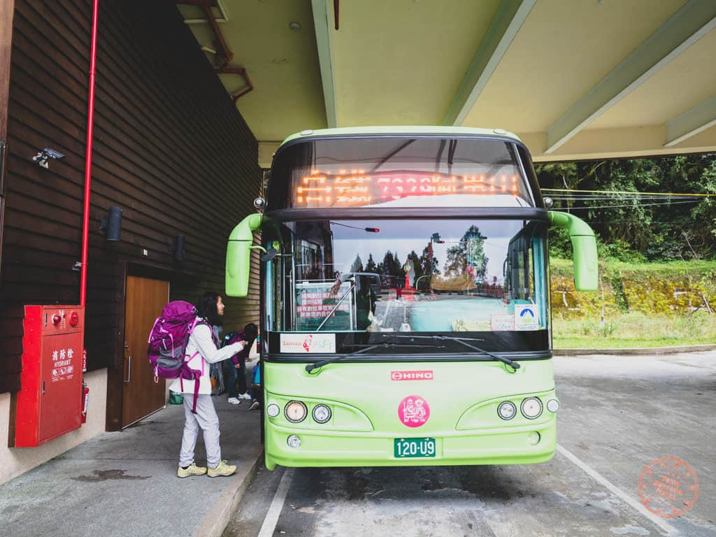 Getting On Bus Back to Chiayi From Alishan