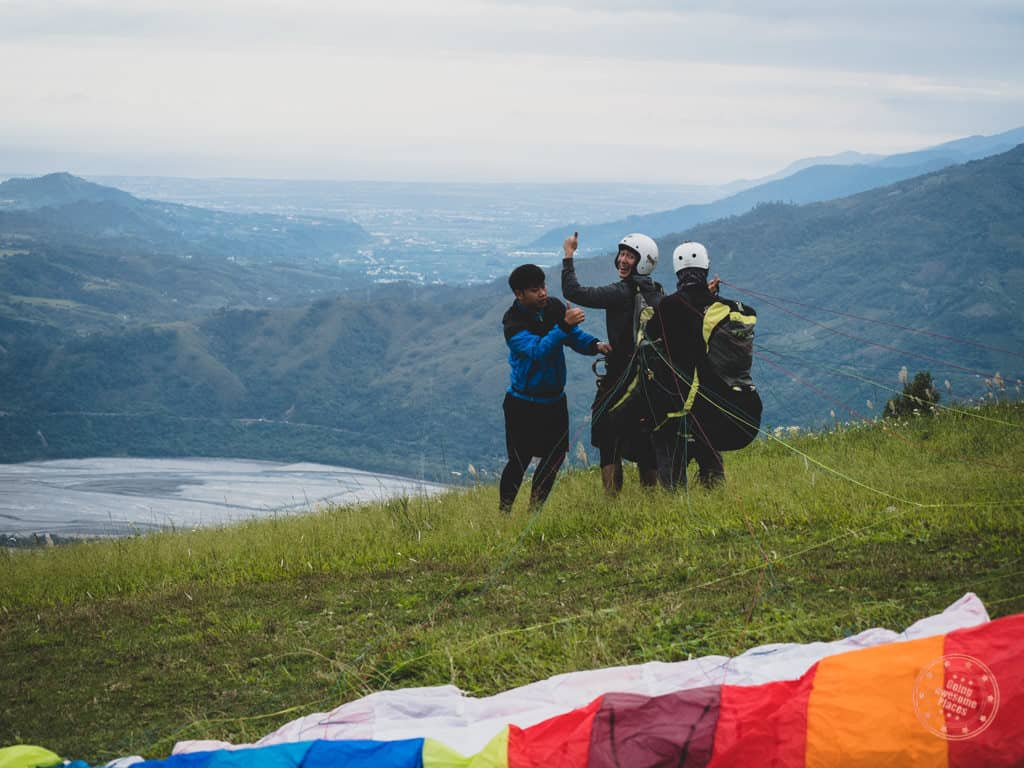 Getting Harnessed For Second Paragliding Flight at Luye Gaotai in Taiwan