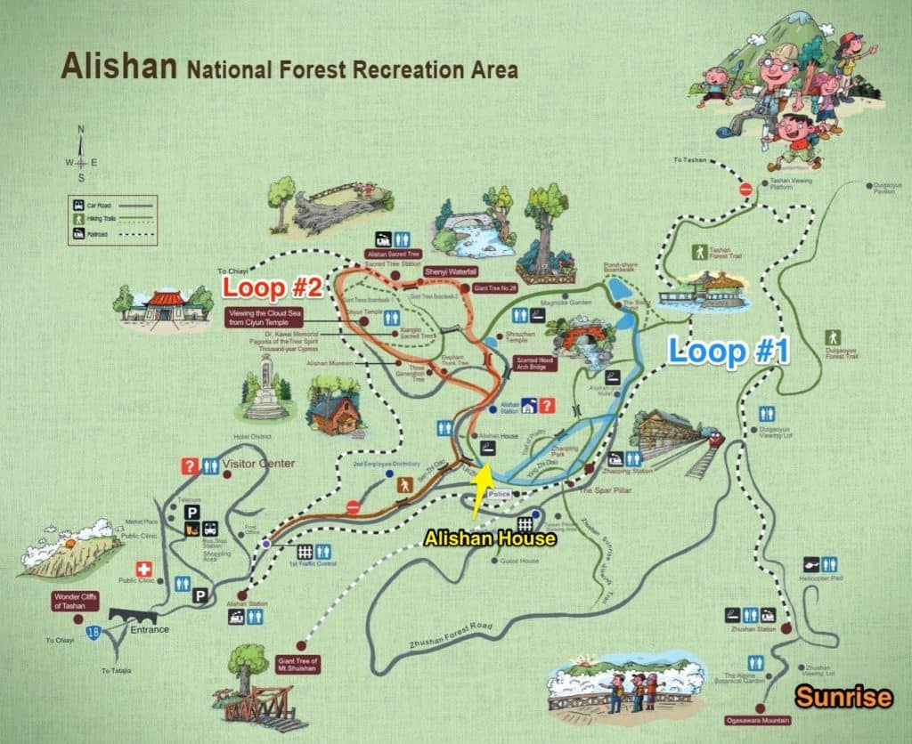 Optimal walking routes in Alishan National Recreational Forest map