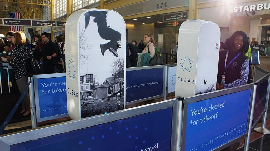 CLEAR expedited security line with kiosks