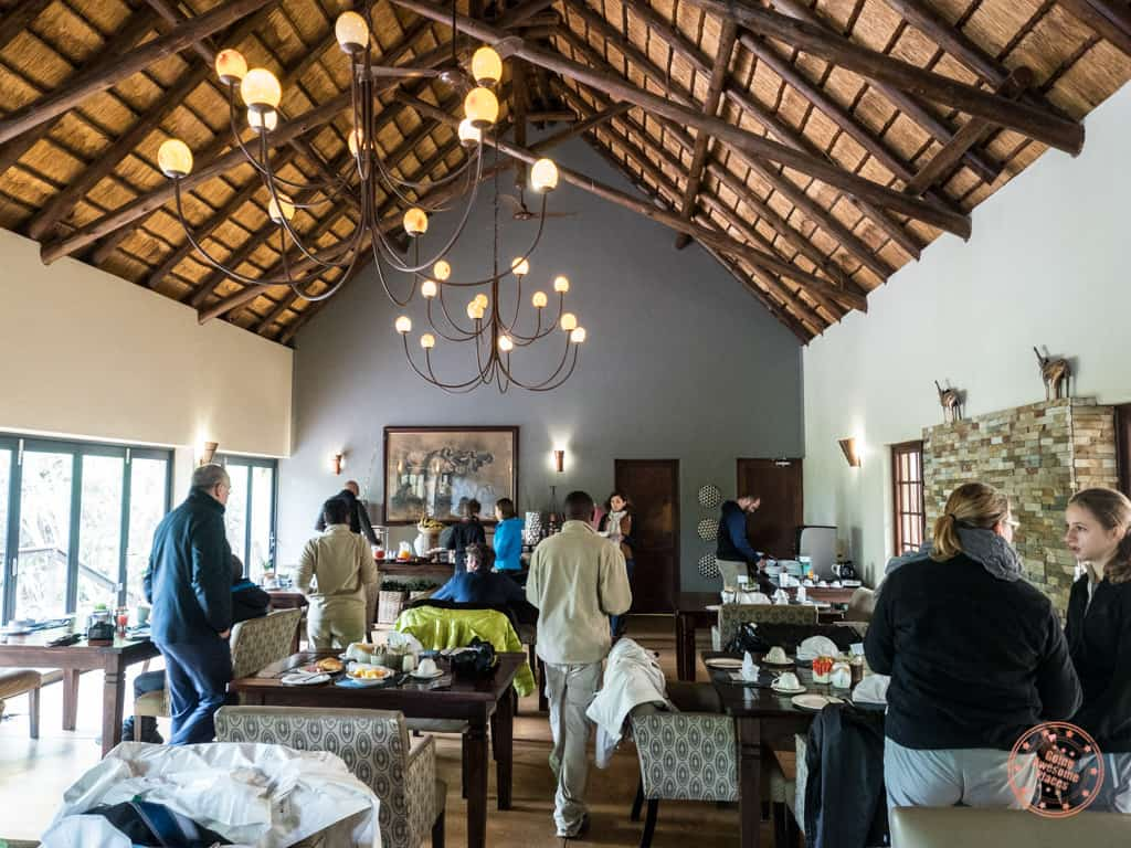 Elephant Plains dining hall at breakfast