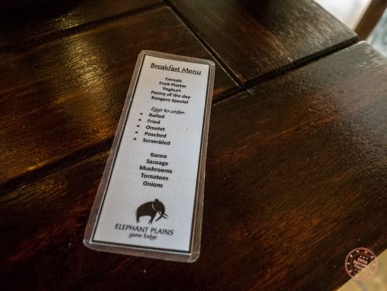 Elephant Plains a-la-carte menu for breakfast