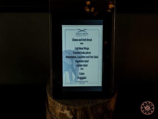 lunch buffet menu digital sign at Elephant Plains