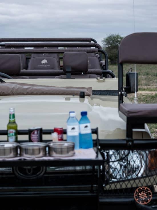 safari truck during afternoon drive break