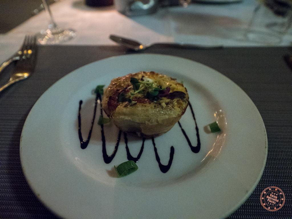 appetizer tart for dinner at Elephant Plains