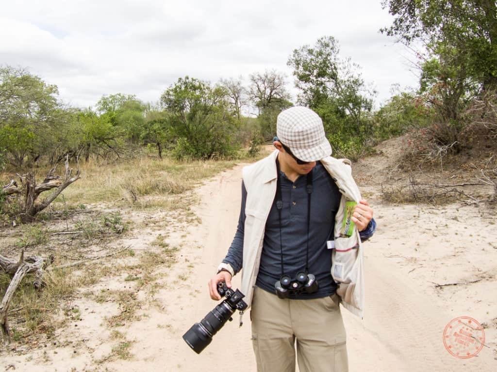 scottevest during bushwalk at elephant plains