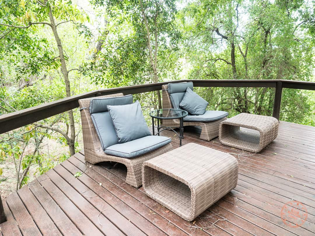 outdoor deck lounge chairs at elephant plains