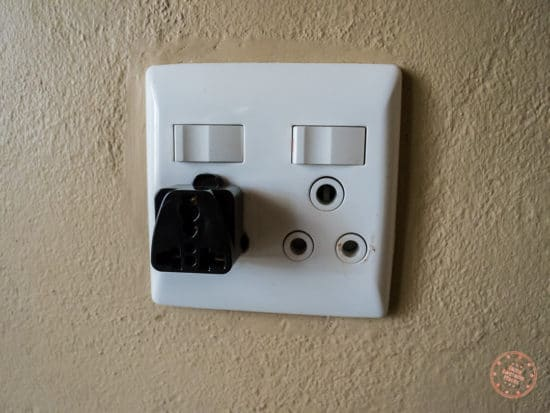 south african outlet in suite with travel adapter