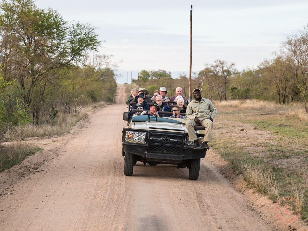 oncoming safari truck
