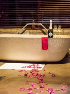 flower petals and free champagne for our honeymoon