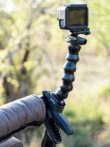 gopro mounted on jaw clamp on safari truck