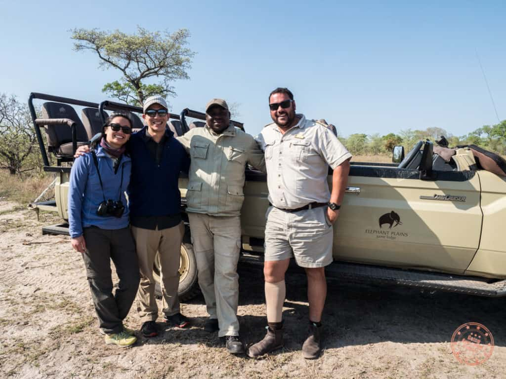 group photo with morne and dion of elephant plains during game drive