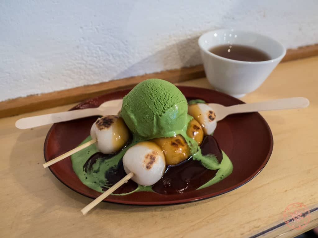 japanese ice ouca green tea gelato with mochi balls