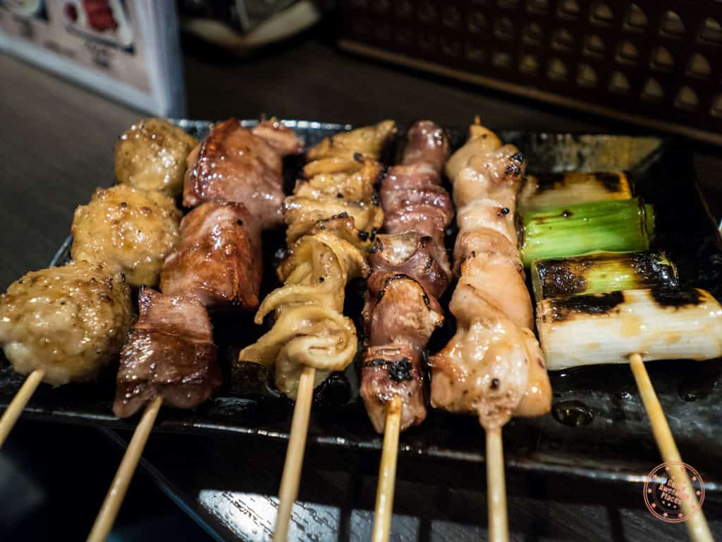 combination yakitori skewers in bar on memory lane