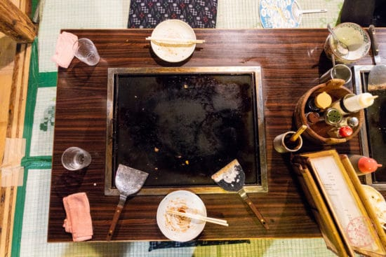 personal griddle at sometaro okonomyaki
