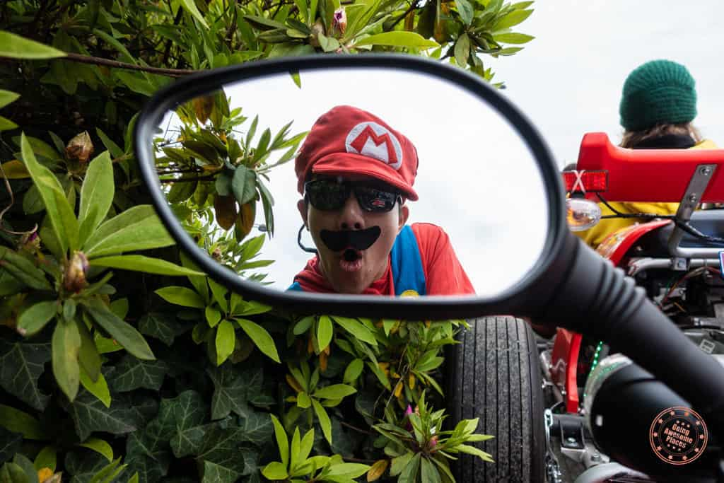 mirror reflection of mario costume during maricar experience