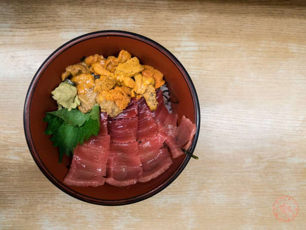 uni and fatty tuna chirashi bowl at nakaya