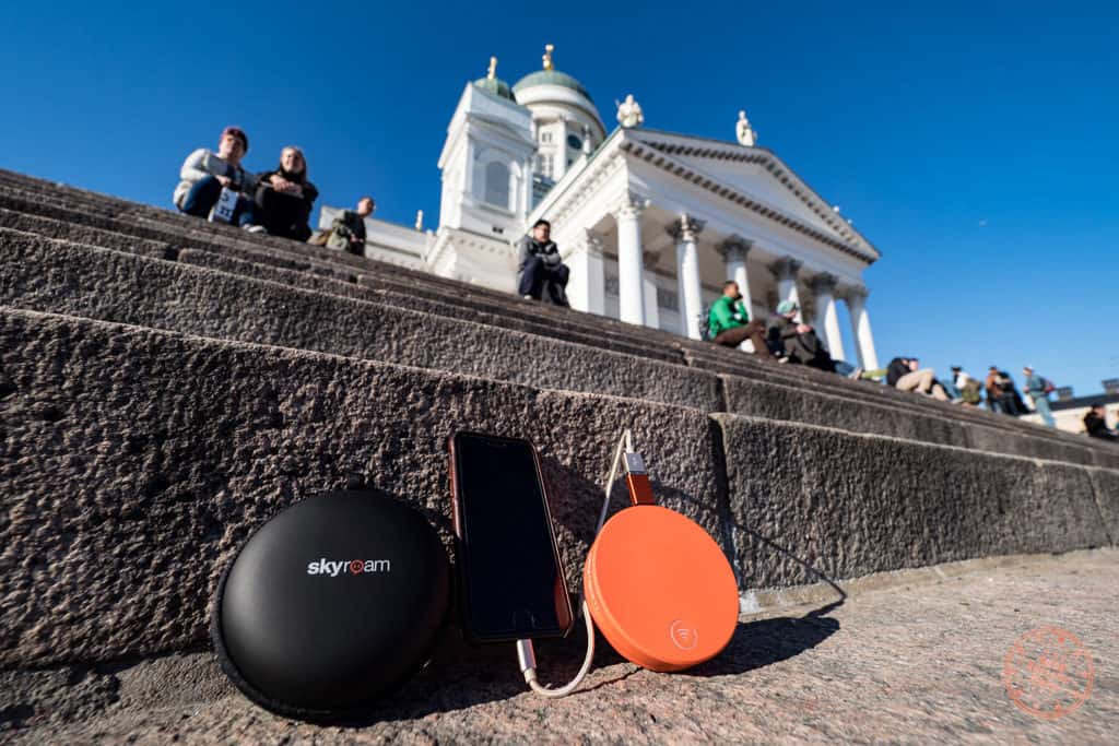 skyroam solis wifi hotspot device at helsinki cathedral