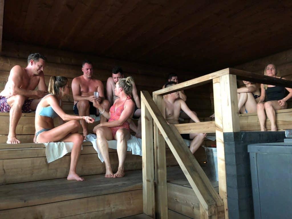 inside the loyly sauna for ping festival in helsinki