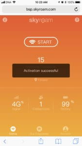 skyroam solis activation successful message