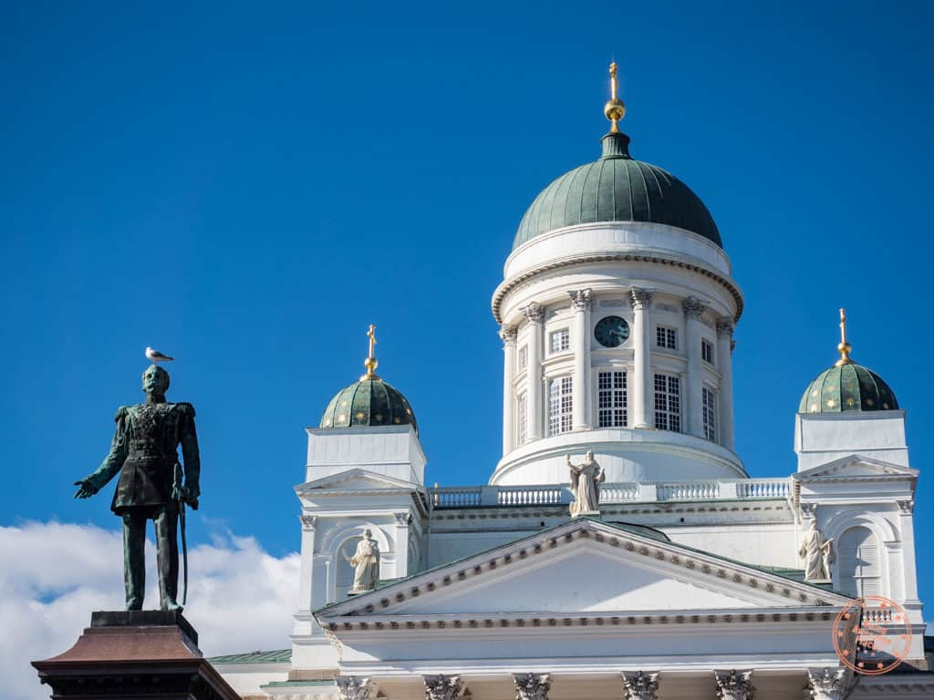 3 day helsinki itinerary with statue and cathedral