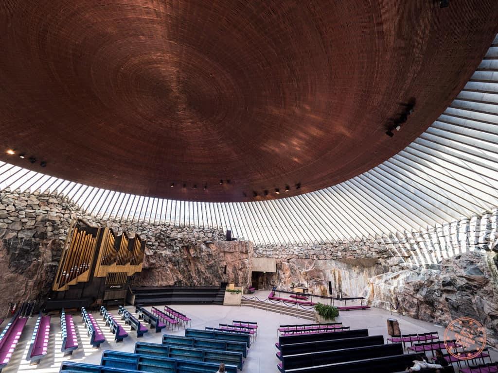 temppeliaukio rock church interior wide angle