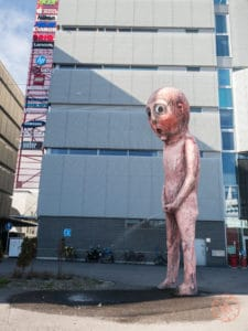 peeing bad bad boy sculpture in helsinki