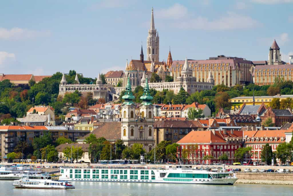 View of Buda side of Budapest with the Buda Castle, St. Matthias and Fishermen's Bastion