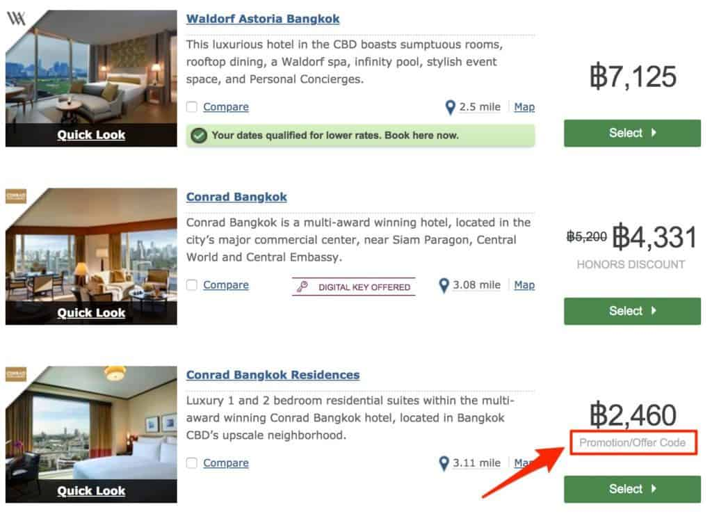 hilton airline staff discount search page