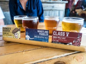 sample paddle of beer from whitewater brewing company