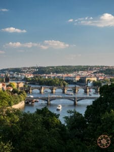view from letna park and looking down at the bridges across vtlava river in prague
