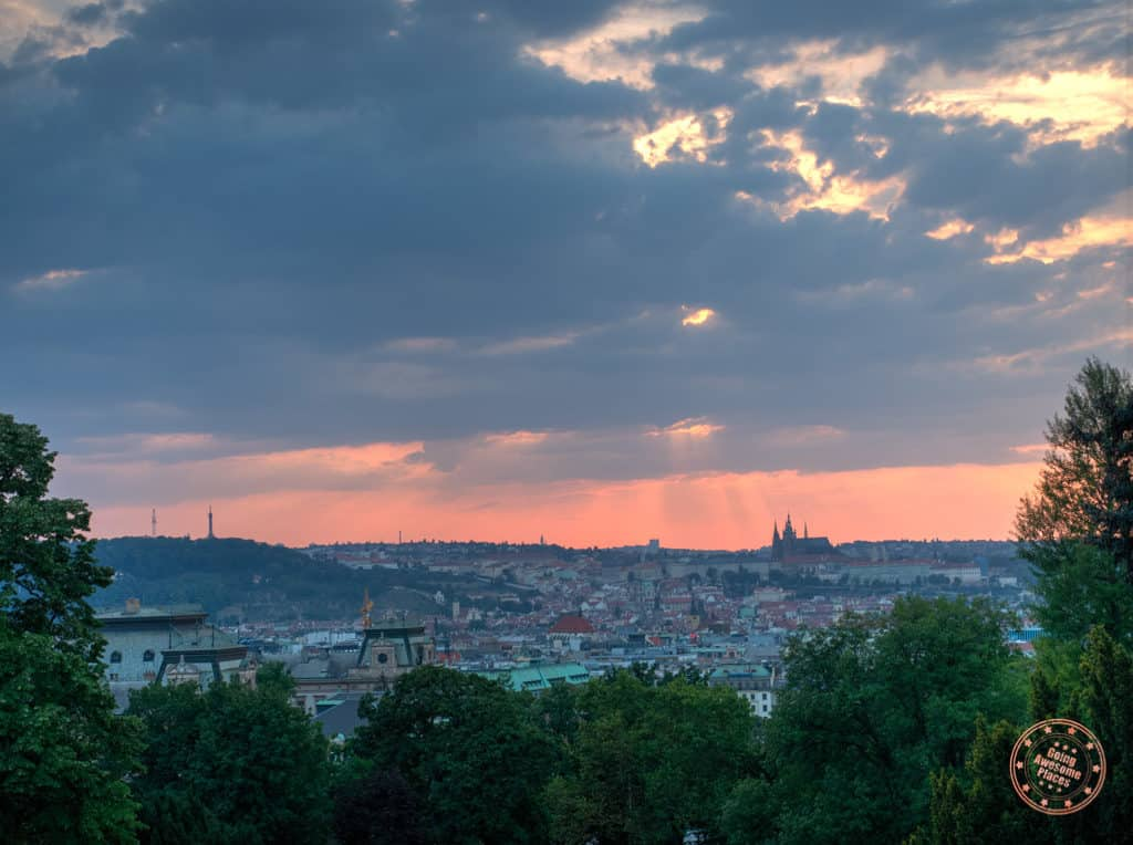 perfect view and photography of prague from riegrovy sady park