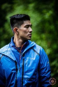 columbia outdry extreme jacket in blue while raining